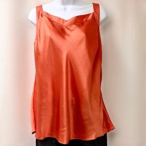 Soft Surroundings Orange Silk Cross Back Top, L
